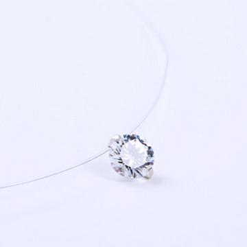默语珠宝s925纯银透明鱼线隐形项链
