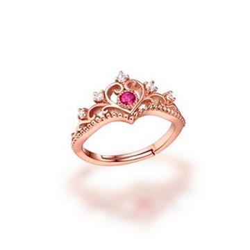 爱如美珠宝925纯银镀18K玫瑰金粉碧