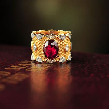 有你珠宝18K黄金钻石红宝石戒指复