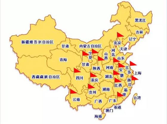 周金生分布图:广东省,四川省,重庆,云南省,贵州省,浙江省,西北区