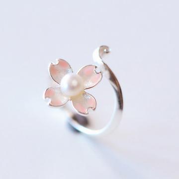 古猫宁首饰s925纯银珍珠樱花戒指