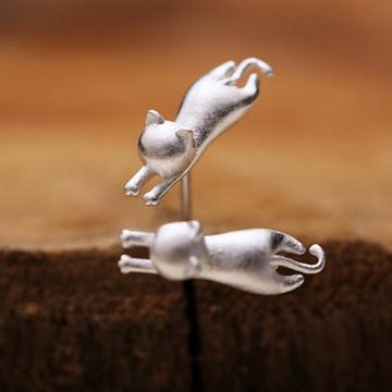 古猫宁首饰小动物猫咪耳钉甜美素银