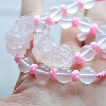 苏武珠宝纯天然粉晶貔貅手链