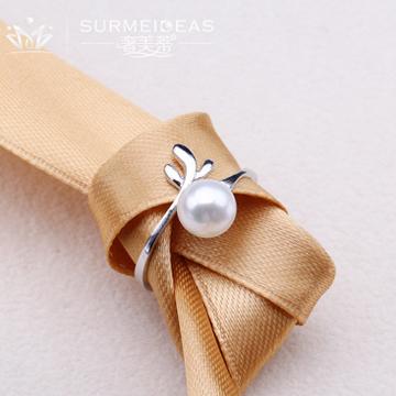 奢美蒂珠宝纯银珍珠指环