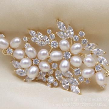 奢美蒂珠宝珍珠胸花淡水珍珠饰品天