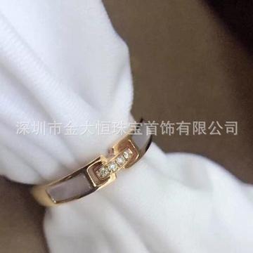 金大恒珠宝18K简约镶钻石玛瑙白贝