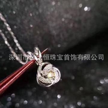 金大恒珠宝18K项链简约镶钻石吊坠
