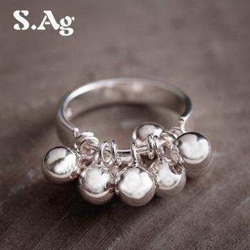 素银坊990银纯银铃铛戒指女