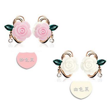 黛诗饰品树脂玫瑰花朵耳扣高端花形