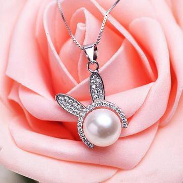 一好首饰S925纯银贝壳珍珠微镶小兔