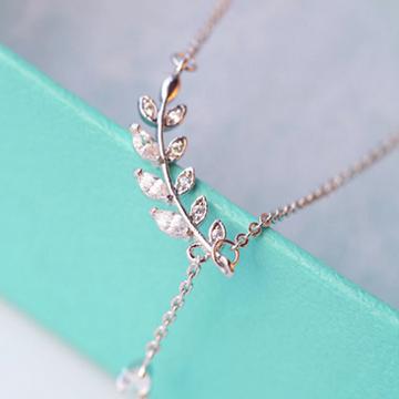 一好首饰S925纯银时尚叶子锁骨链