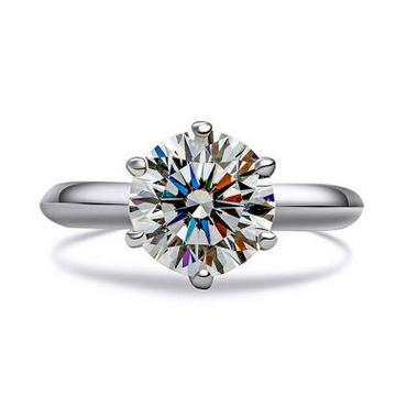 一好首饰六爪纯银求婚戒指