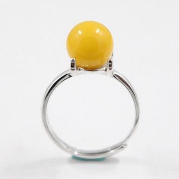 莉志琥珀R238蜜蜡925银活口女戒指
