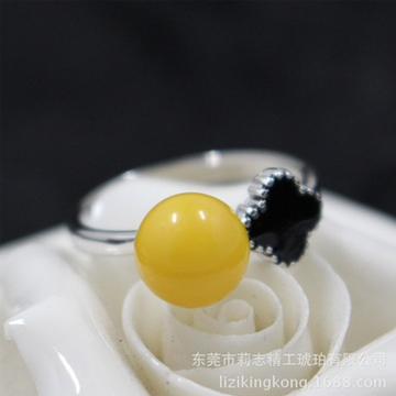 莉志琥珀蜜蜡圆珠S925银戒指