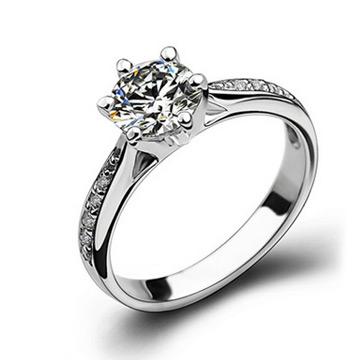 爱心华珠宝六爪仿真钻戒锆石婚礼戒