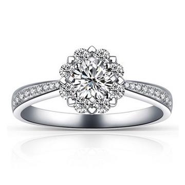 爱心华珠宝雪花戒指女款银饰