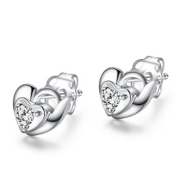 IBELOVES爱不离手精美心形钻石耳钉