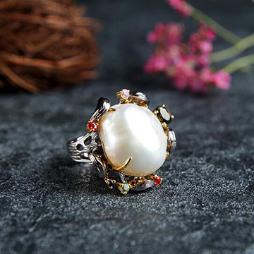 宝娲珠宝925银镶典雅时尚珍珠戒指