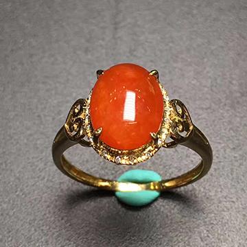 逸之璟橘色翡翠戒指