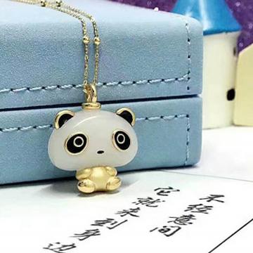 中晟珠宝金镶玉熊猫吊坠