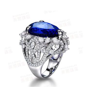 万国彩宝多瑙河坦桑石微镶戒指