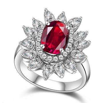 万国彩宝玫瑰星空红宝石戒指