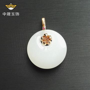 中晟珠宝正品18K金镶天然和田玉梅