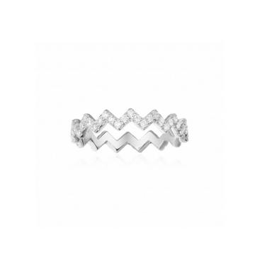 摩纳哥纯银镶晶钻Z字形戒指