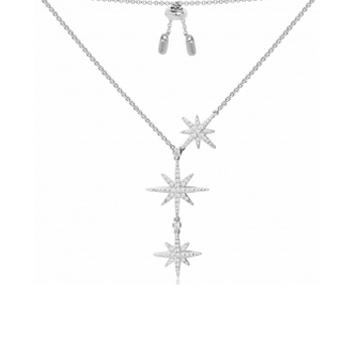 摩纳哥纯银镶晶钻流星项链
