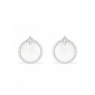 摩纳哥纯银镶晶钻母贝耳环