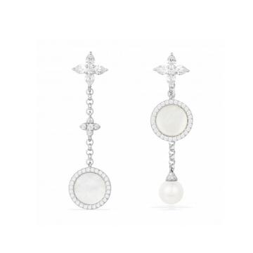 摩纳哥纯银镶晶钻母贝珍珠垂坠耳坠