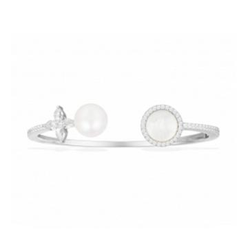 摩纳哥纯银镶晶钻母贝珍珠开口手镯