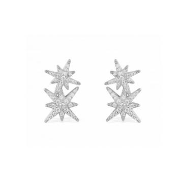 摩纳哥纯银镶晶钻双流星耳钉