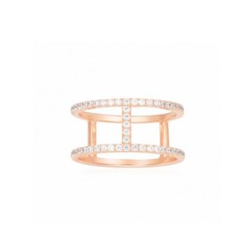 摩纳哥粉金色纯银镶晶钻戒指