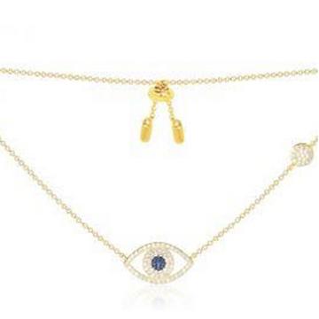 摩纳哥金黄色纯银镶晶钻幸运眼项链