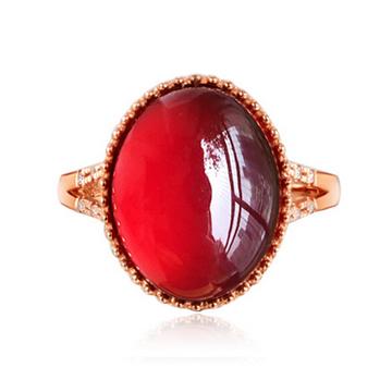 指环宝石榴石镶钻女戒