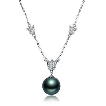 京润珍珠黑珍珠项链