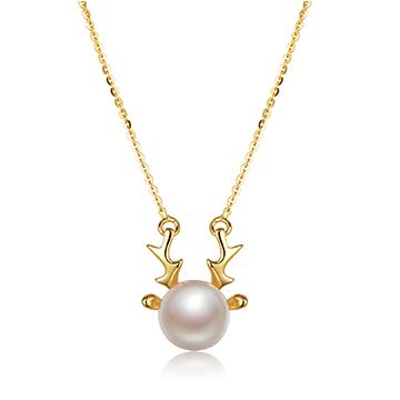 京润珍珠黄金镶嵌吊坠