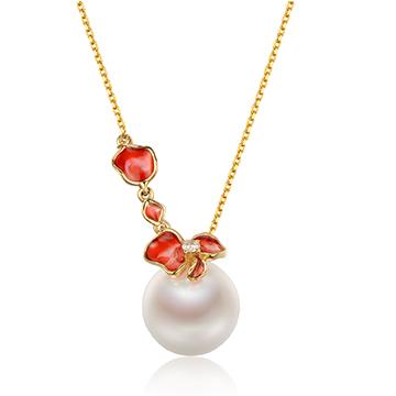 京润珍珠黄金镶嵌珍珠吊坠