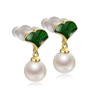 京润珍珠黄金镶嵌珍珠耳坠