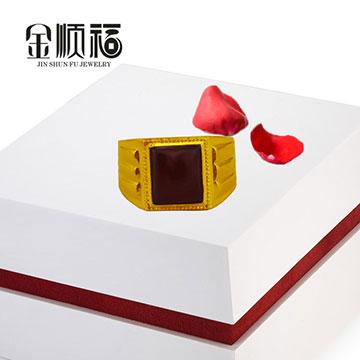 金顺福珠宝方框宝石男戒