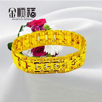 金顺福珠宝宽中间方块手链