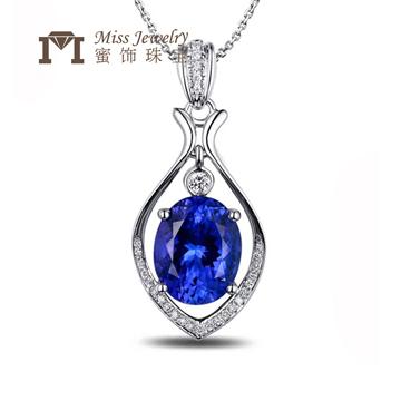 蜜饰珠宝18K金时尚坦桑石项链