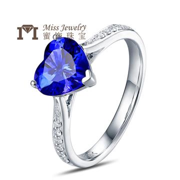 蜜饰珠宝18K金时尚坦桑石心形戒指