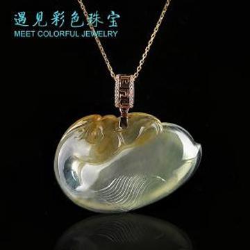 遇见彩色珠宝黄翡天鹅项链