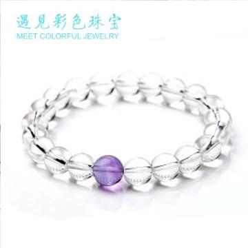 遇见彩色珠宝白水晶时尚手链