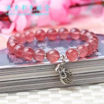 遇见彩色珠宝草莓晶时尚手链