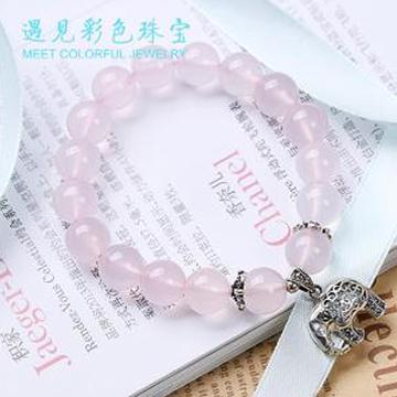 遇见彩色珠宝粉水晶小象手链