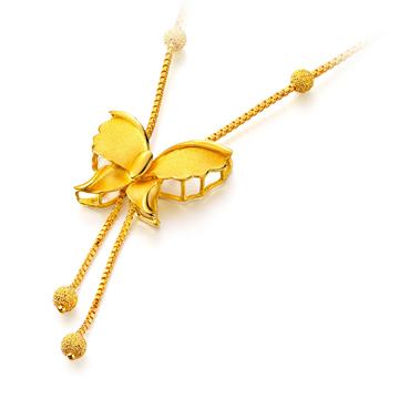 潮客珠宝蝴蝶镂空黄金项链