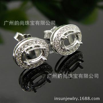 韵尚珠宝小翡翠百搭银饰耳环